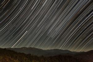 西山から白山と星空